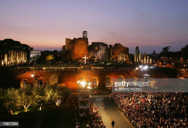 A view of the Palatine Hill before Pope Benedict XVI presiding over the Stations of the Cross ceremony at Rome's Colosseum on Good Friday in...