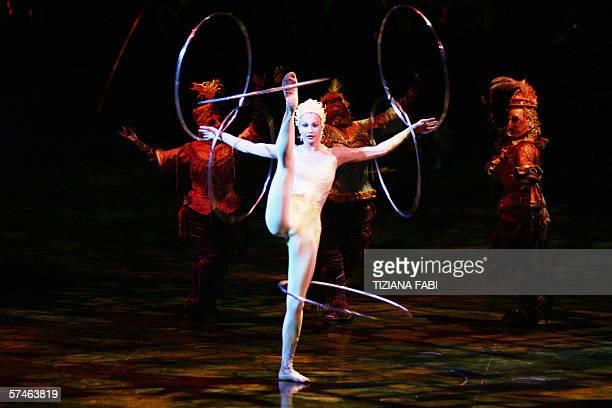 Artist Maria Sialeva of the Cirque du Soleil performs during the new show Alegria in Rome 26 April 2006 AFP PHOTO / TIZIANA FABI