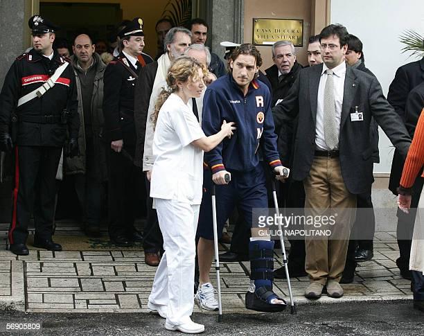 AS Roma captain Francesco Totti leaves the Villa Stuart hospital in Rome 22 February 2006 The 29yearold Totti was operated on late 19 Febraury 2006...