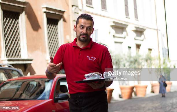 Rome, Italy: Barista Carrying Take-Away Espressos Down the Street