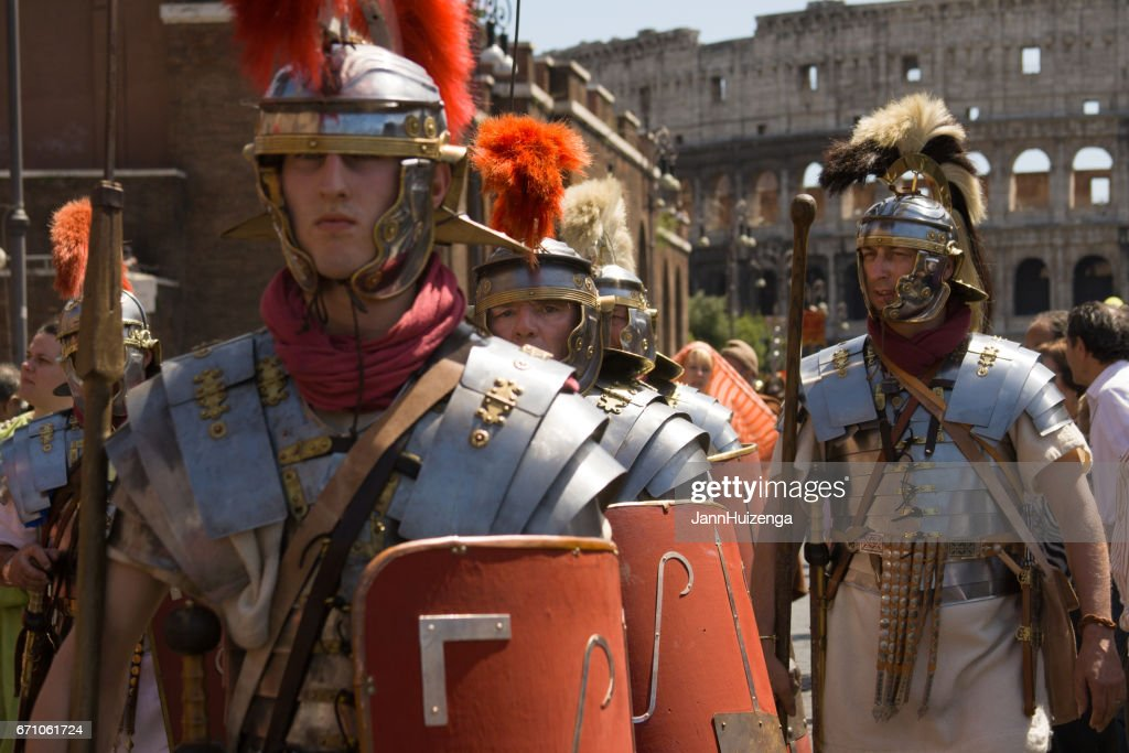 Rome, Italy: Birth of Rome Festival: Roman Centurions at Coliseum : Stock Photo