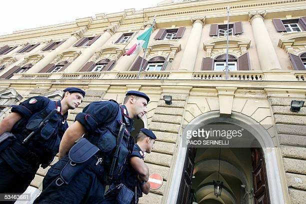 Carabinieri guard the Department of Finance in central Rome during the meeting between Italian Ministers Claudio Scaiola Giovanni Alemanno Roberto...