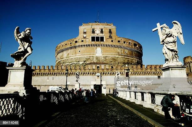 Rome Italy Castel Sant Angelo The Mausoleum of Hadrian usually known as the Castel Sant'Angelo is a towering cylindrical building in Rome initially...