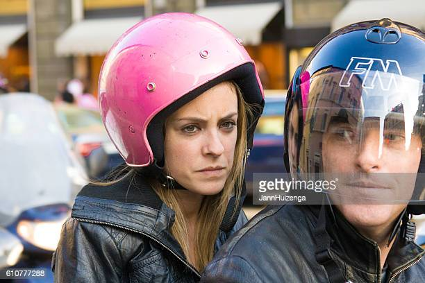 Rome, Italy: Couple in Chic Helmets on Motorbike (Close-Up)