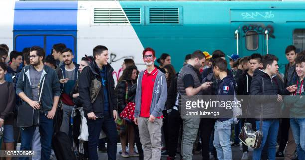 Rome, Italy: Crowd at Ostiense Train Station