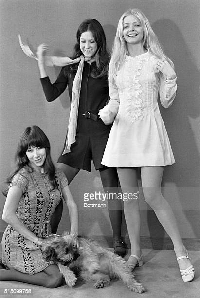 12/1967 Rome Italy Ewe Aulin Swedish actress on the set of Candy with American teenager dress designers Vicky and Mia