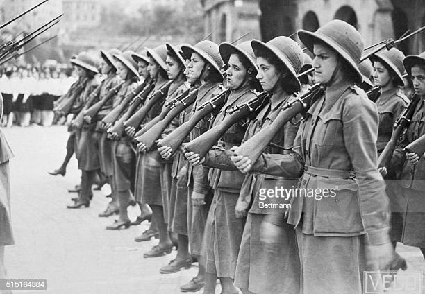 Fascists Women March For Il Duce Some of the 70000 girls and women who paraded for Premier Mussolini in Rome on the 20th anniversary of Fascism are...