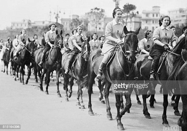 In Parade Of Women Fascists In Rome A mounted contingent of girls pictured in the huge parade of 70000 women and girl members of Fascist...