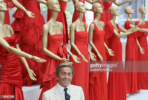 Italian fashion designer Valentino poses at the opening of his exhibition at the Ara Pacis in Rome 06 July 2007 Valentino's celebrates his 45 years...