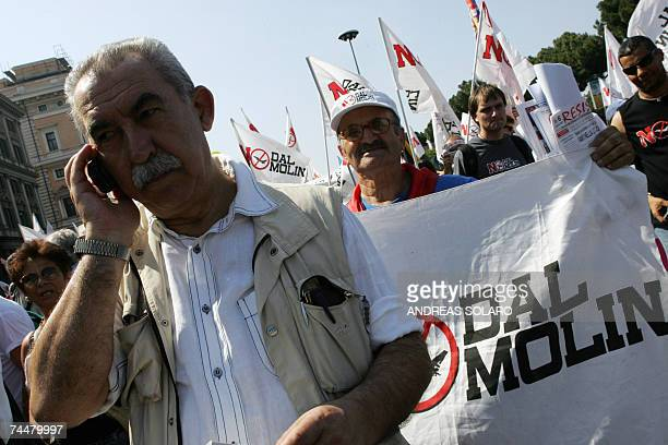 Italian journalist and politician Member of the European Giulietto Chiesa protests against US President George W Bush planned by pacifist movements...