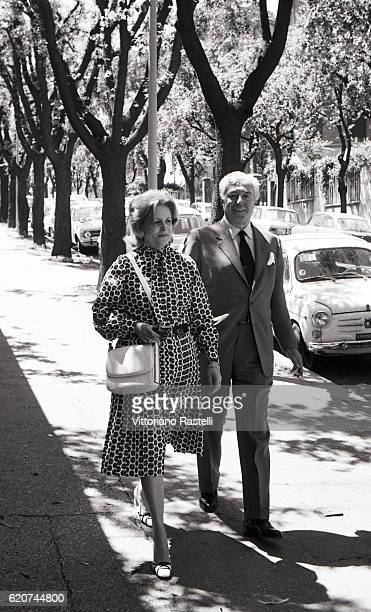 Rome Italy Italian movie director Vittorio de Sica and his wife Maria Mercader stroll in Rome July 3 1971