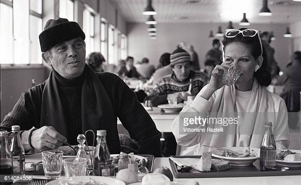 Rome Italy Jan 19 1985 The Italian director Pasquale Squitieri with the 'Italian actress Claudia Cardinale