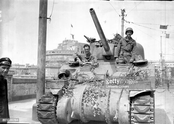 Rome Italy June 4 1944 Liberation of Rome by the US Army troops a tank is parked in Lungo Tevere in front of Castel Sant Angelo near the Vatican
