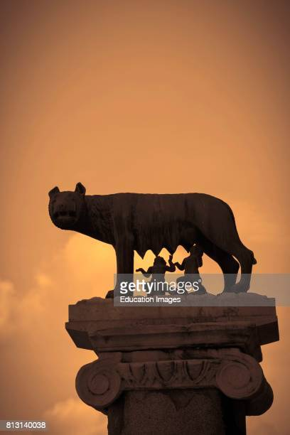 Rome Italy La Lupa Capitolina 'the Capitoline Wolf' Statue on Capitoline Hill of Romulus and Remus the mythical founders of Rome suckled by a wolf...