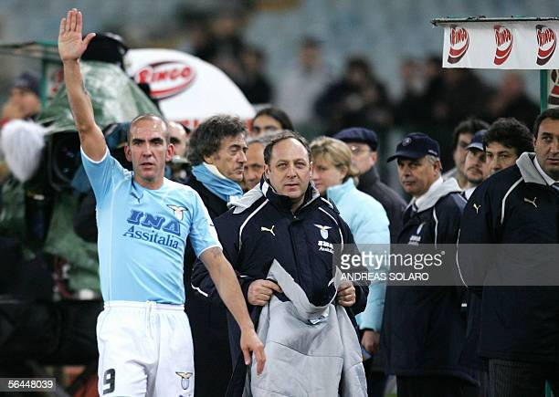 Lazio's forward Paolo Di Canio gestures towards Lazio fans as he leaves the pitch during Lazio vs juventus Serie A football match at Rome's Olympic...