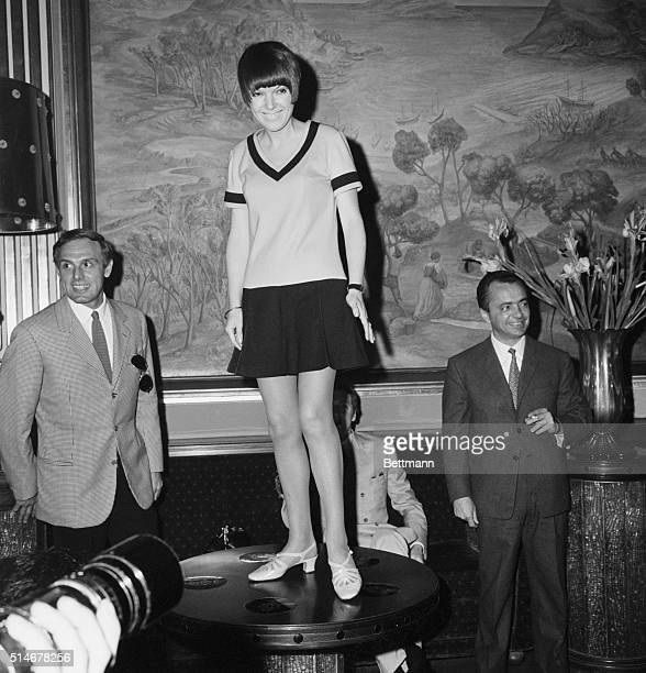 Madame Miniskirt England's Mary Quant wearing minidress during her press conference held here 3/9 She arrived here today to inaugurate a Pop Shop in...