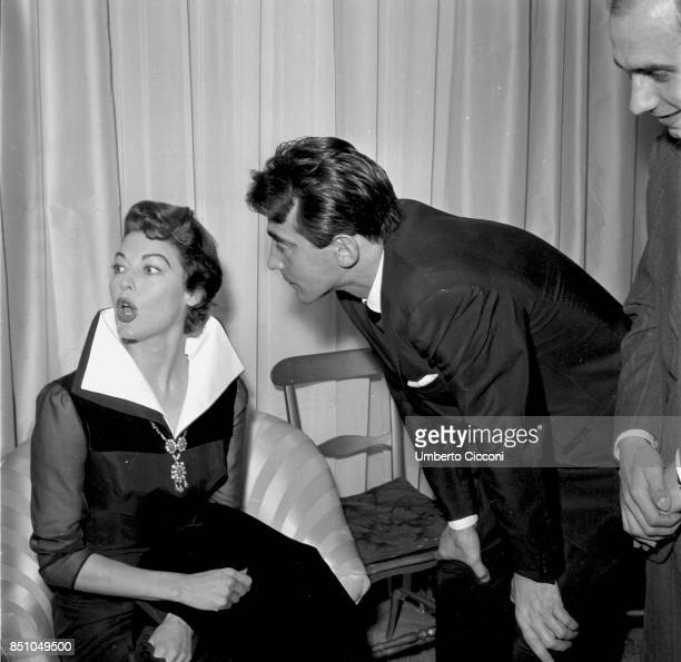 Rome Italy March 21 1957 American actress Ava Gardner in the Sorelle Fontana fashion house with the Italian actor Walter Chiari