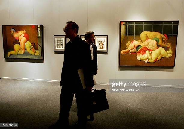 Paintings of Colombian artist Fernando Botero's last series inspired by the prison abuse scandal in Abu Ghraib in Iraq at the opening of an...