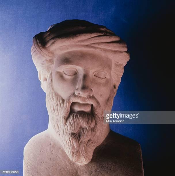 Pythagoras 5th century BC Greek Mathematician Marble portrait of the Greek Mathmatician Undated artist unknown
