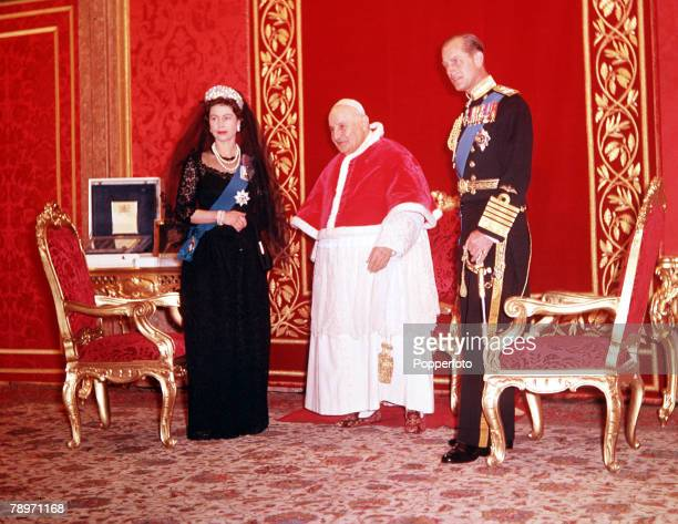 Rome, Italy, Queen Elizabeth II and her husband Prince Philip, Duke of Edinburgh pictured with Pope John XXIII in the Vatican City, Rome during the...