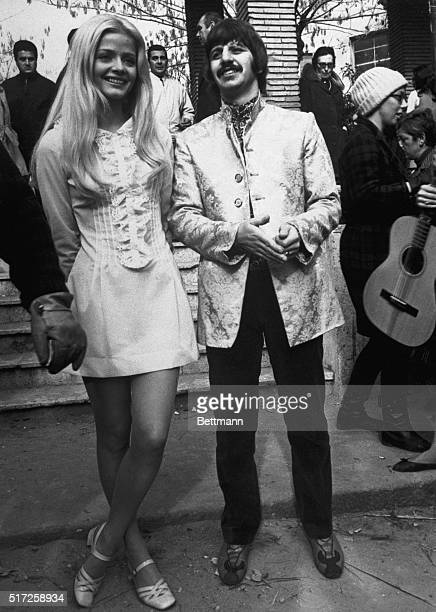 Rome Italy Ringo Starr a member of the singing group The Beatles thinks something is funny as he stands with teenage star Ewa Aulin The young Swedish...