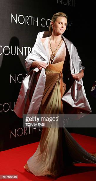 South African actress Charlize Theron arrives at the premiere of the film North Country in Rome 06 February 2006 AFP PHOTOTiziana FABI