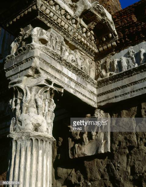 Rome Italy The Forum of Augustus Corinthian chapiter and frieze with reliefs Detail Built by August 2nd century AC