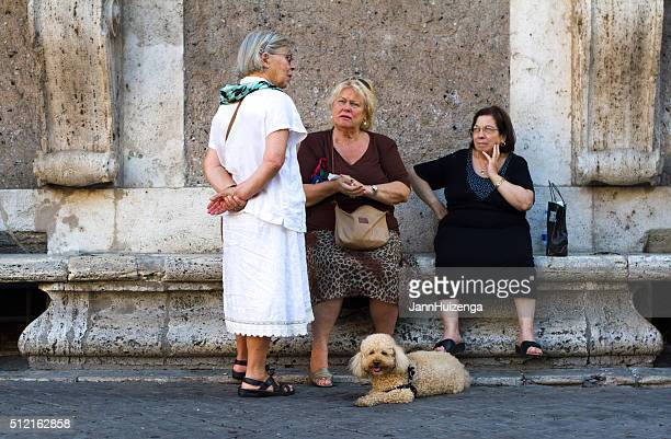 Rome, Italy: Three Senior Women Chat in Piazza Farnese