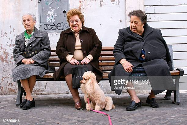 Rome, Italy: Three Senior Women Relax on Bench with Poodle