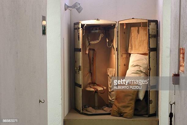 TO GO WITH AFP STORY Le taureau de feu et la guillotine des papes au musee du crime a Rome A spy trunk which was used to carry Israeli spy Mordechai...