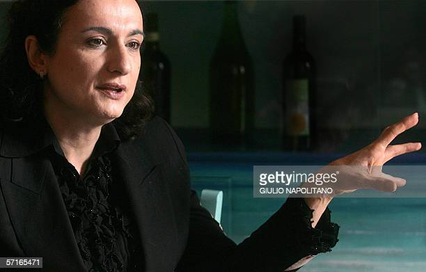 Italian transsexual candidate Wladimiro Guadagno, alias Vladimir Luxuria gives an interview in Rome, 23 March 2006. Luxuria is a candidate for the...