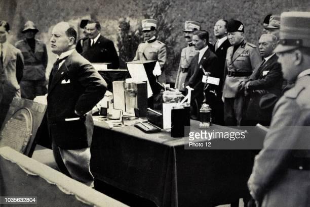 Rome June 23 1927 Mussolini delivery to Italo Balbo his pilot's license