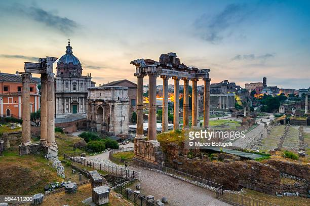 rome, lazio, italy. imperial fora at sunrise. - roman forum stock pictures, royalty-free photos & images
