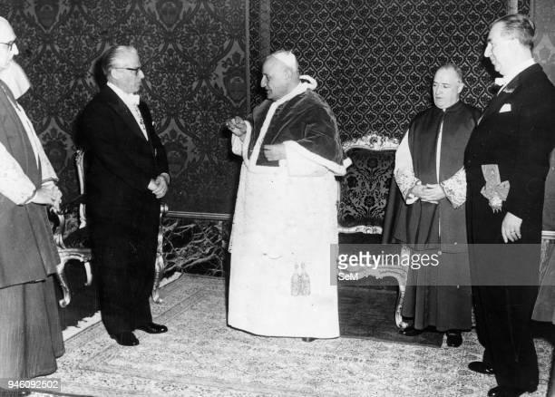 Rome May 7, 1959 Audience of Pope John XXIII at the Vatican with the President of the Italian Republic Giovanni Gronchi and the Minister Pella. Pope...