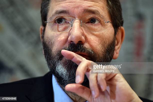 Rome mayor Ignazio Marino attends a press conference at the Foreign Press Club in Rome on April 17 2015 The press conference presented the new...