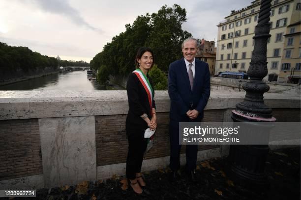 "Rome mayor Virginia Raggi and France's ambassador to Italy, Christian Masset attend the inauguration of ""The Farnese Bridge"", a participatory..."