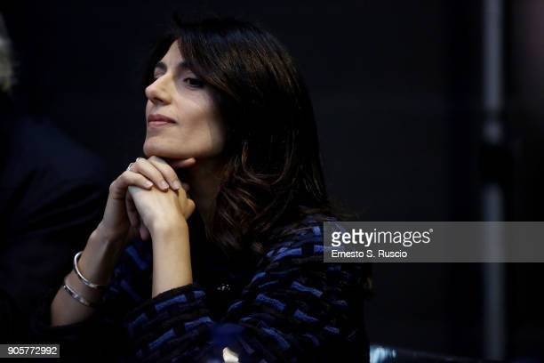 Rome mayor Virginia Raggi attends 'The Pink Floyd Exhibition Their Mortal Remains' exhibition press conference at MACRO on January 16 2018 in Rome...