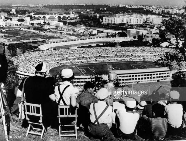 Rome. Olympic stadium during a football match. 1957.