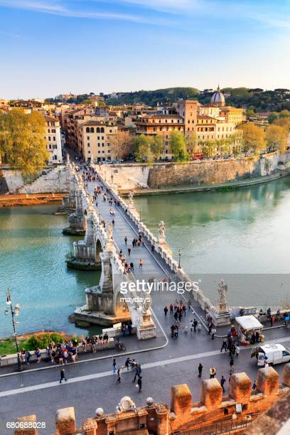 rome, ponte dell'angelo - periodo medievale stock pictures, royalty-free photos & images