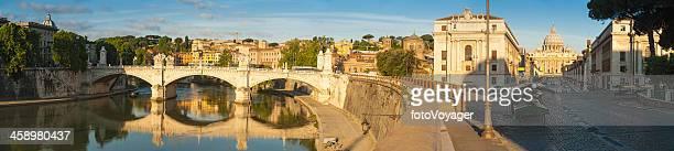 Rome River Tiber sunrise panorama on Vatican City
