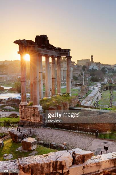 rome, roman forum at sunrise - periodo medievale stock pictures, royalty-free photos & images