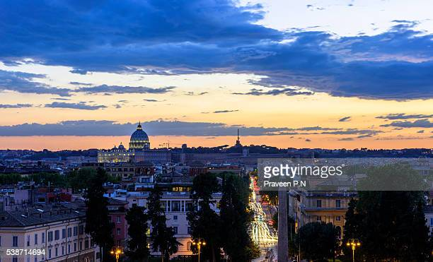 Rome skyline and St. Peter's basilica from Villa Borghese