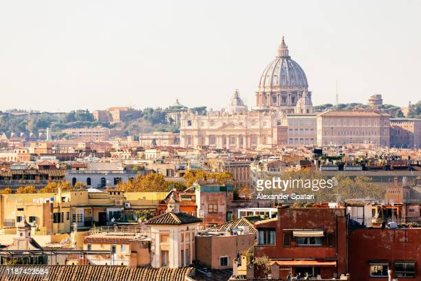 rome skyline at sunset, italy - vatican stock pictures, royalty-free photos & images