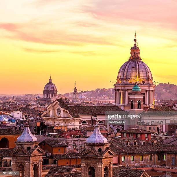 rome skyline with church cupolas, italy - roma stock photos and pictures