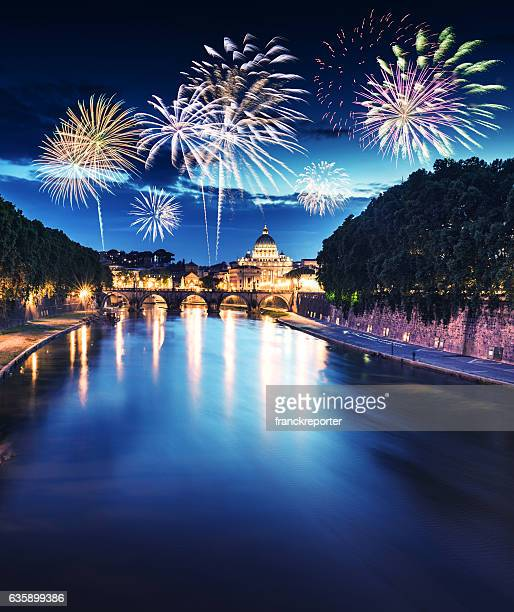 Rome skyline with fireworks on the background for new year