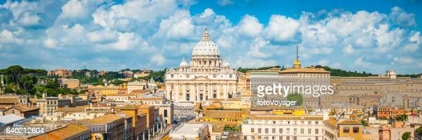 rome st peter's cathedral overlooking vatican city landmark panorama italy - basilica di san pietro foto e immagini stock