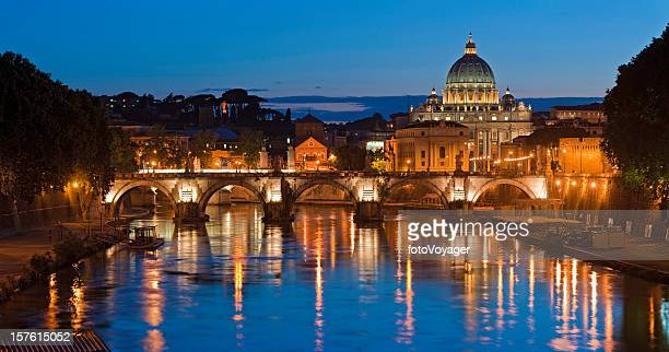 Rome St Peters illuminated Vatican City River Tiber lights Italy