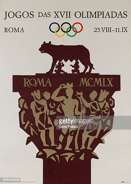 Rome Summer Olympics poster illustrated by Armando Testa, shoing the Capitoline Wolf suckling Romulus and Remus.