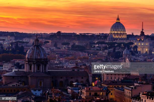 rome sunset - vaticano imagens e fotografias de stock