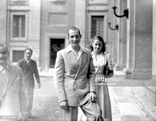 Rome The racing cyclist champion Gino Bartali with his wife is going to be received at the Quirinale by the President of the Italian Republic It is...